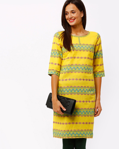 Kurta With Woven Design By AURELIA ( Yellow ) - 440655959006