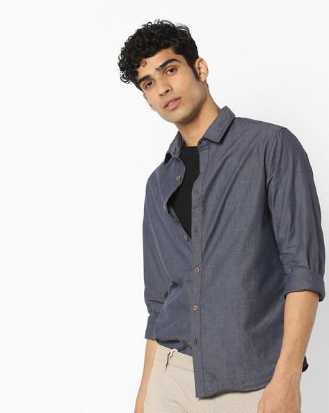 Pattern Woven Cotton Shirt By AJIO ( Blue ) - 460128178001