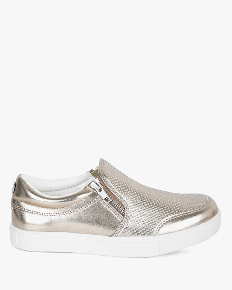 Slip-On Casual Shoes With Metallic Finish By BSH ( Rosgld )