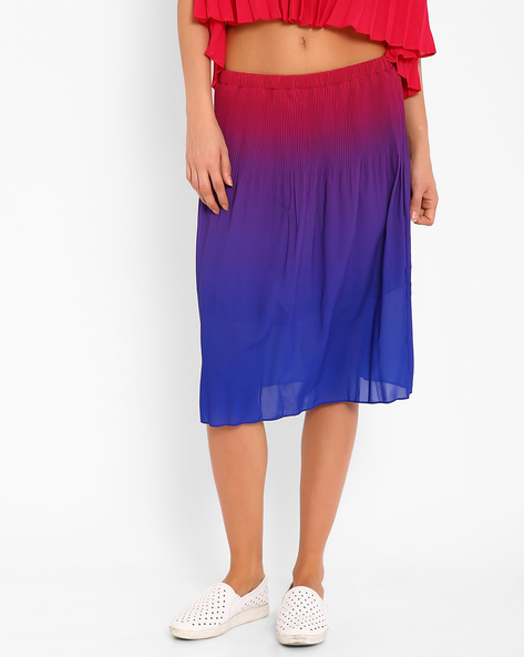 Ombre-Dyed Pleated Skirt By AJIO ( Pink )
