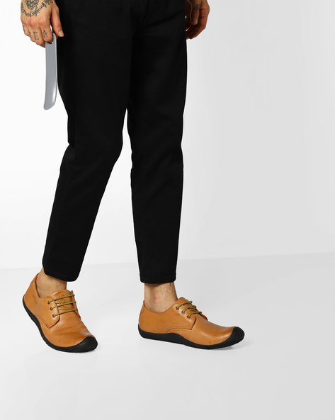 Genuine Leather Lace-Up Shoes By BUCKAROO ( Tan )
