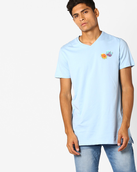 V-neck Slim Fit T-shirt By AJIO ( Lightblue )