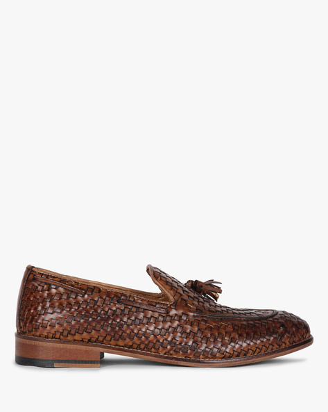 Genuine Leather Loafers With Tassels By Hats Off Accessories ( Darkbrown )