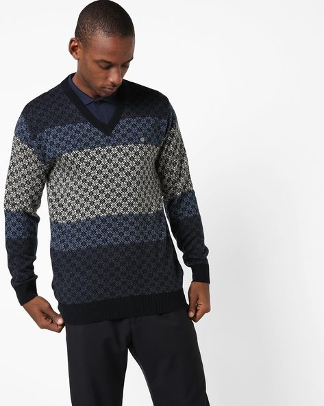 Colourblock Pullover With Geometric Pattern By DUKE ( Navy )