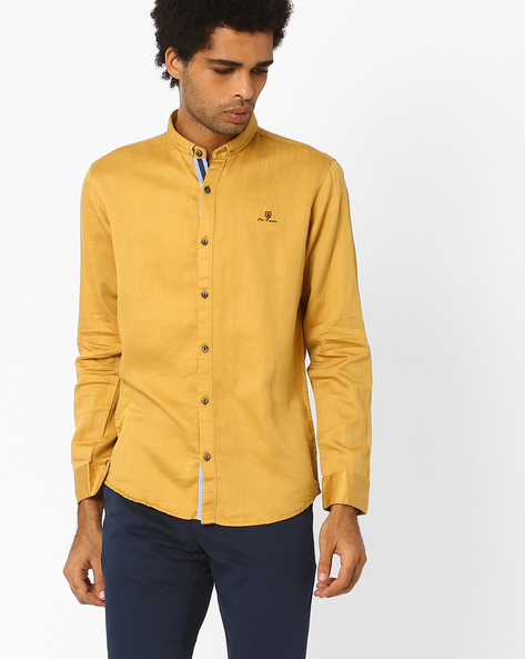 Cotton Shirt With Band Collar By SIN ( Mustard )