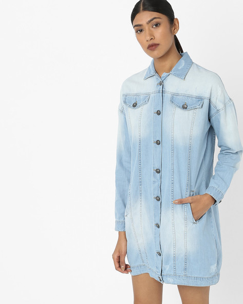 Denim Shirt Dress With Printed Back By AJIO ( Lightblue )