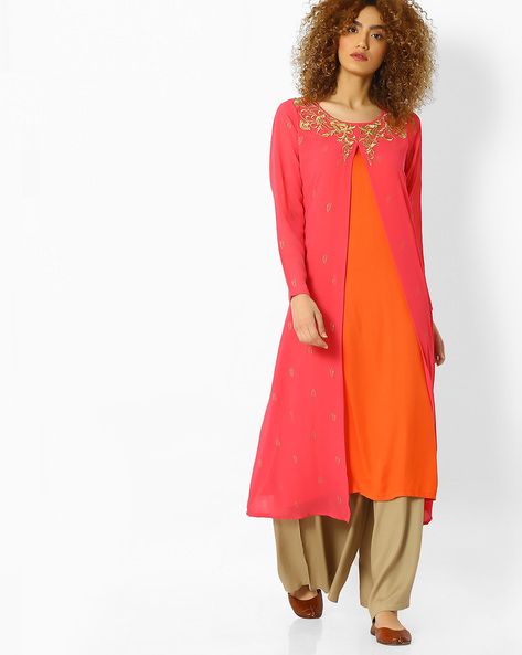 Straight Kurta With Embroidered Overlay By Global Desi ( Pink )