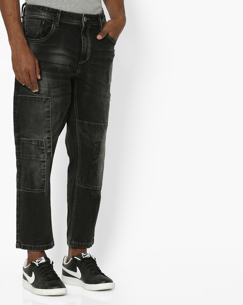Ankle-Length Relaxed Fit Distressed Jeans By ADAMO LONDON ( Grey )