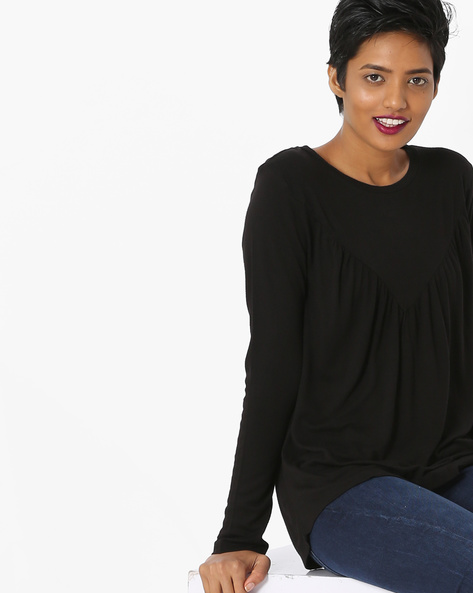Knit Top With Angled Yoke By Only ( Black )