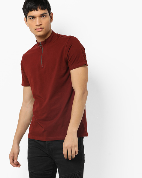 High-Neck T-shirt With Zipper By AJIO ( Pink )