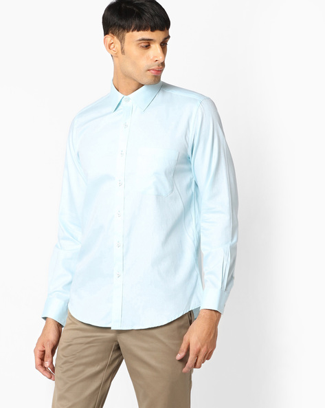 Slim Fit Shirt With Patch Pocket By VIMAL APPARELS ( Aqua )