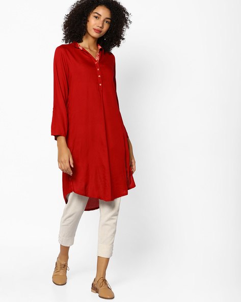 Collared Straight Kurta With Button Placket By Melange By Lifestyle ( Darkred )