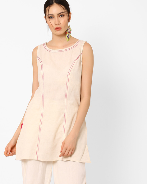 Sleeveless Tunic With Tassel Detail By AJIO ( Offwhite )