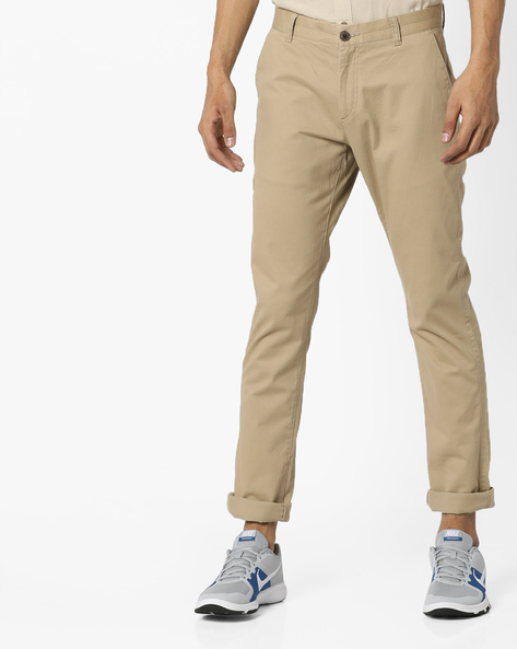 Flat-Front Tapered Chinos By NETPLAY ( Beige )