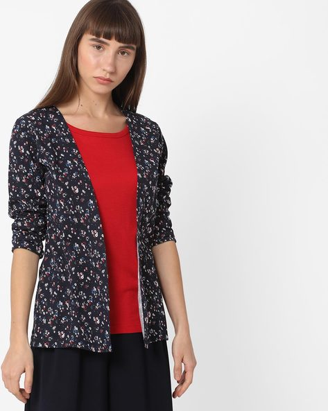 Floral Print Twofer Top By FIG ( Navy )