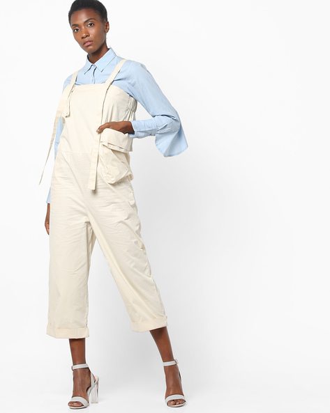 Twill Utility Strappy Jumpsuit By AJIO ( Offwhite )