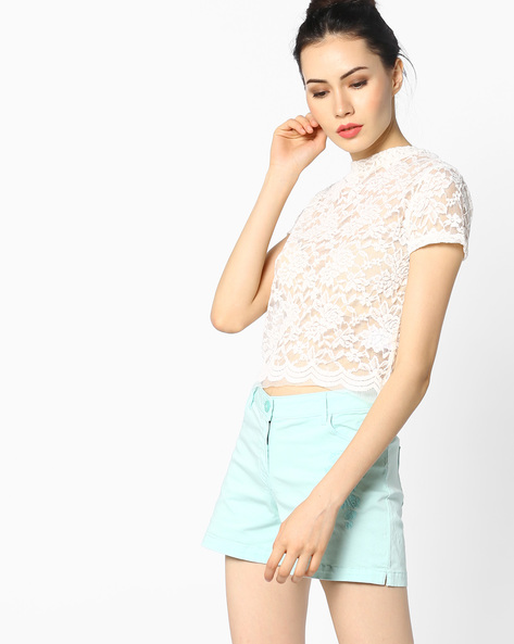 Floral Mesh Crop Top By Ginger By Lifestyle ( Offwhite )