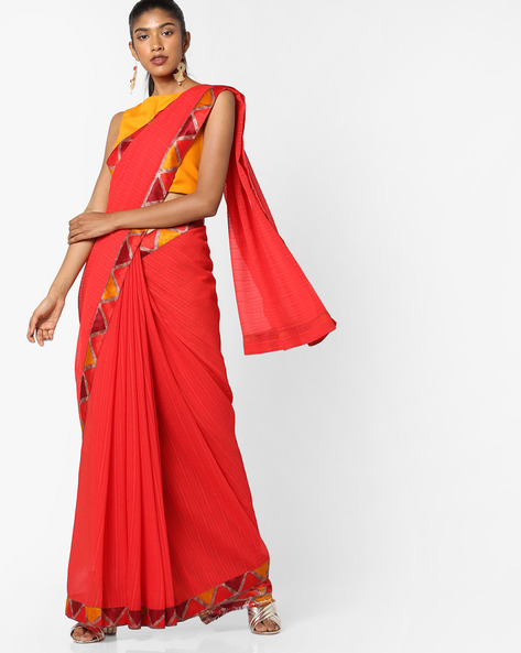 Chiffon Saree With Contrast Border By TRIVENI ( Red )