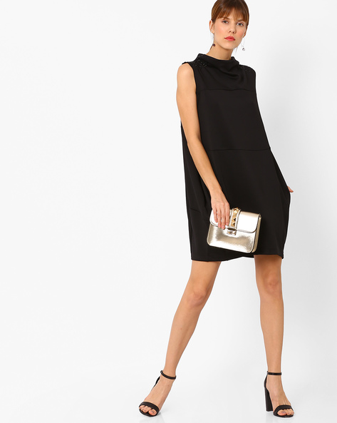 Panelled Dress With Embellished Shoulders By AJIO ( Black )