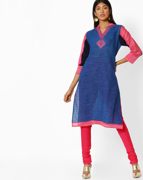 Self-Striped Kurta With Embroidered Neckline By Purple Tree ( Blue )