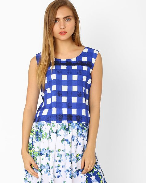 Checked Sleeveless Top By AJIO ( Blue )