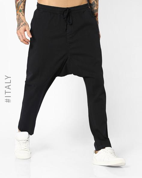 Drop-Crotch Pants With Drawstring Waist By ALCOTT ( Black )