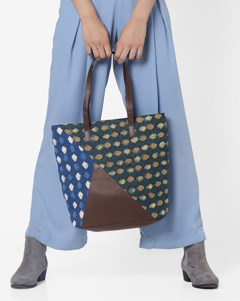 Printed Panelled Tote Bag By Project Eve ( Multi )