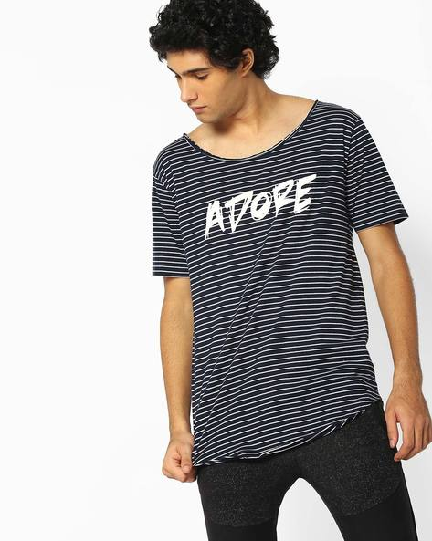 Striped Longline T-shirt With Curved Hem By ADAMO LONDON ( Multi )