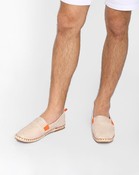 Faux Leather Woven Espadrilles By AJIO ( Cream )