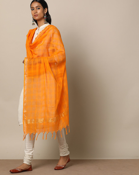 Missing Checked Cotton Dupatta With Zari Border By Indie Picks ( Yellow )