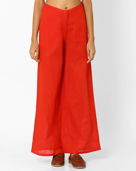 South Cotton Palazzo Pants By AJIO ( Orange )