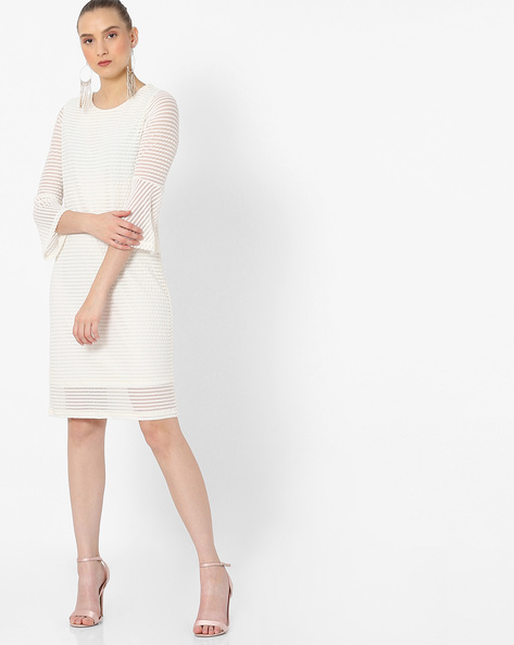 Striped Shift Dress With Flared Sleeves By FIG ( White )