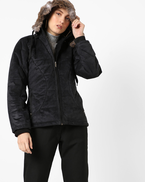 Hooded Quilted Jacket By Fort Collins ( Black ) - 460142857003