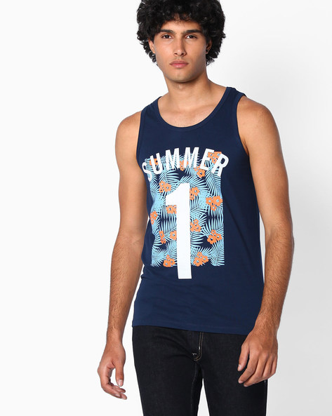 Slim Fit Printed Tank T-shirt By The Indian Garage Co ( Navy )