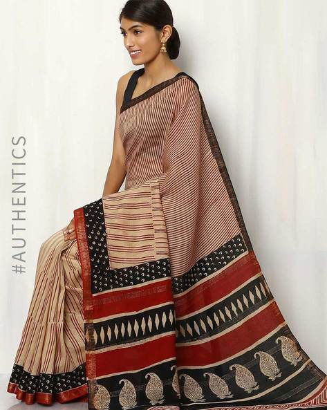 Maheshwari Cotton Printed Saree By Rudrakaashe-MSU ( Maroon )
