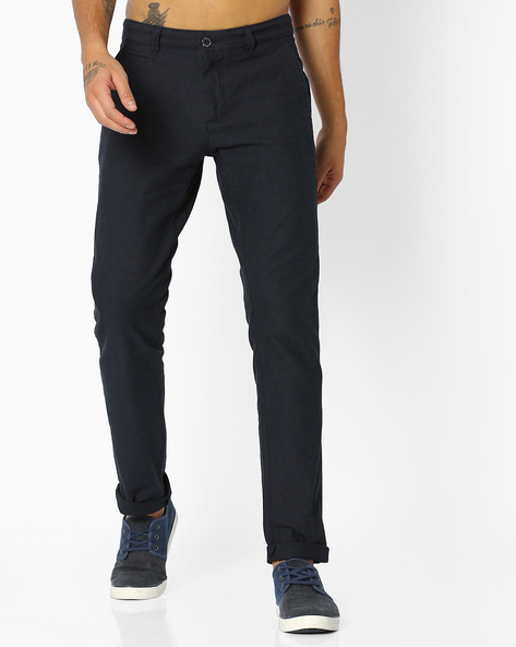 Tapered Flat-Front Chinos By NETPLAY ( Medgrey )