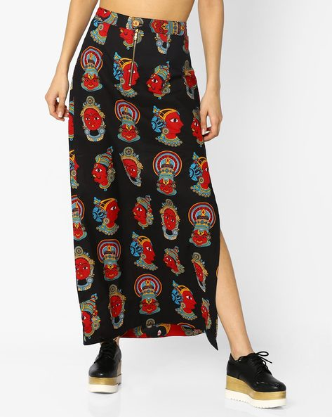 Printed Skirt With Side Slit By Desi Weaves ( Black )