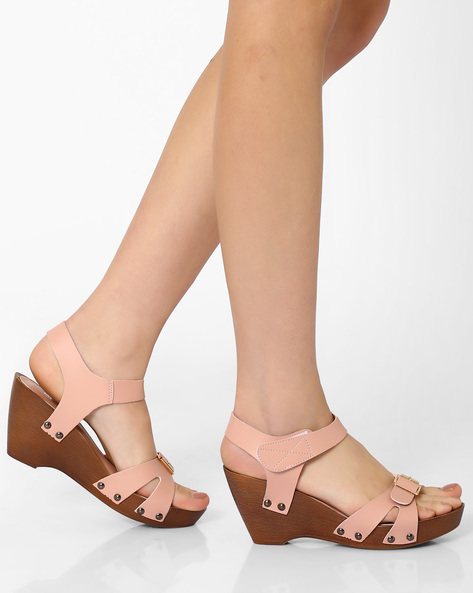Wedge-Heel Sandals By MFT Couture ( Pink )