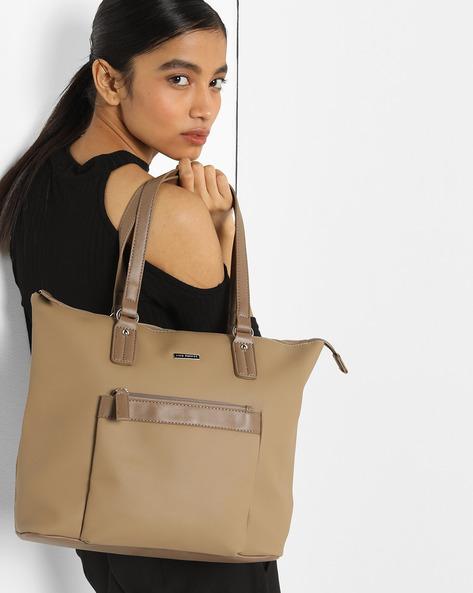 Tote Bag With Zip Pocket By Lino Perros ( Beige )