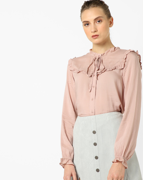 Printed High-Low Shirt By Oxolloxo ( Pink )