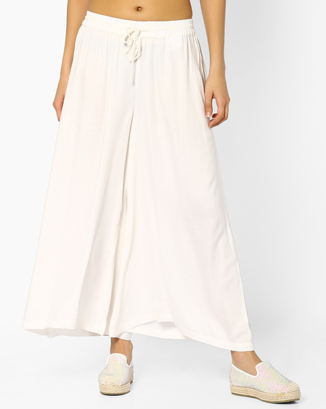 Palazzo Pants With Elasticated Waist By Rangmanch By Pantaloons ( Offwhite )