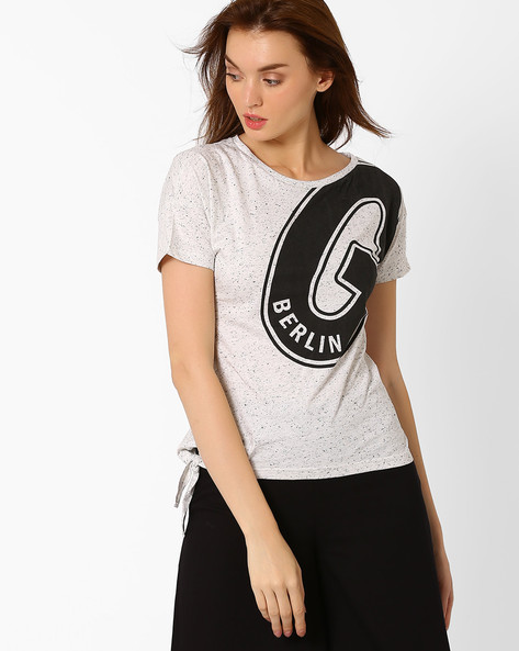 Graphic Print T-shirt With Tie-Up Detail By TEAM SPIRIT ( Offwhite )