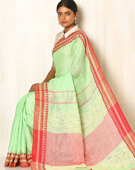 Handwoven Linen Saree With Cotton Contrast Border By Indie Picks ( Green )
