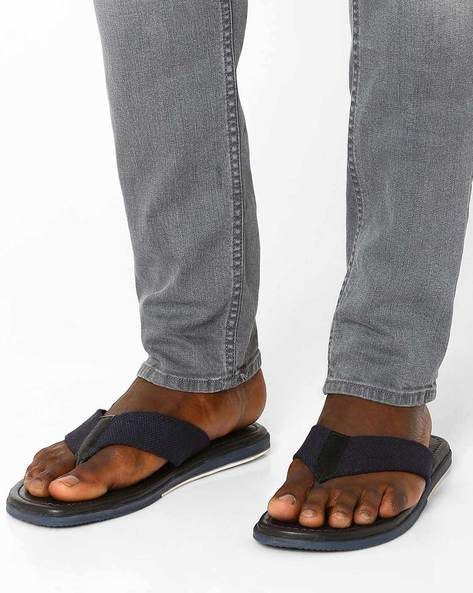 Leather Flip-Flops By Estd.1977 ( Blue )