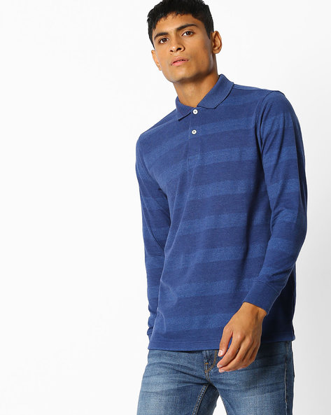 Cotton Striped Polo T-shirt By NETPLAY ( Blue )