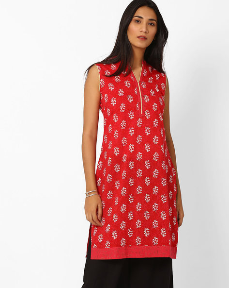 Printed Kurta With Mandarin Collar By AJIO ( Maroon )