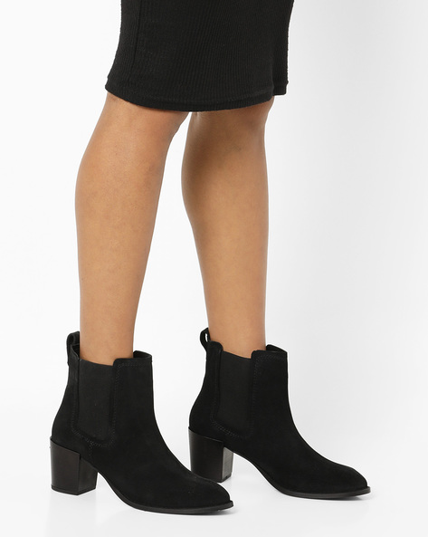 Heeled Boots With Elasticated Gusset By Carlton London ( Black )