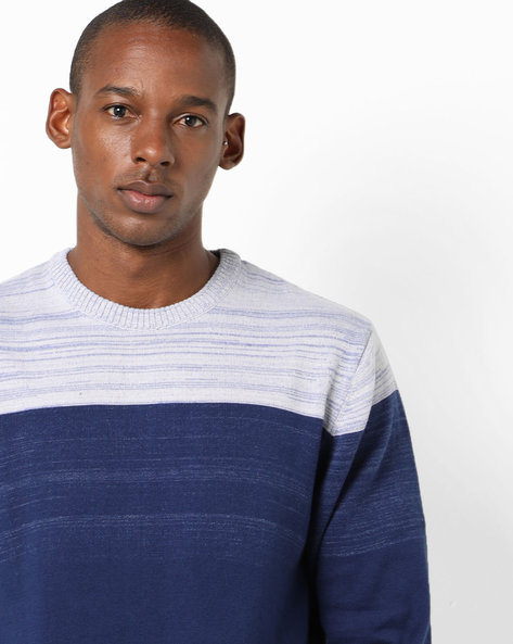 Colourblock Slim Fit Pullover By Teamspirit ( Blue )