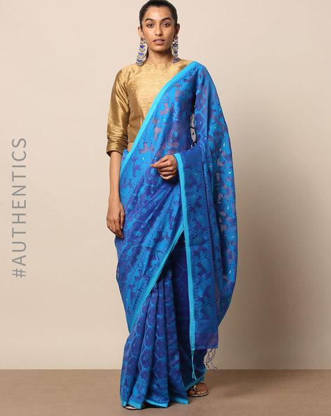 Handloom Bengal Pure Silk Cotton Saree By Indie Picks ( Blue )