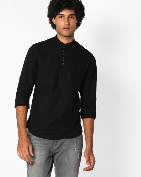 Slim Fit Shirt With Welt Pocket By The Indian Garage Co ( Black )